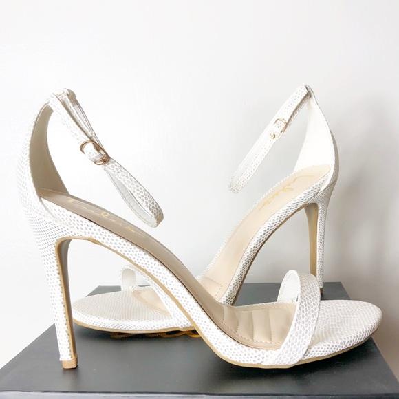 1fdff53851d Lulus | White & Gold Lizard Ankle Strap Heels NWT